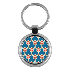 Orange Shapes On A Blue Background			key Chain (round) by LalyLauraFLM