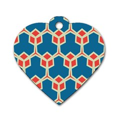 Orange Shapes On A Blue Background			dog Tag Heart (one Side) by LalyLauraFLM
