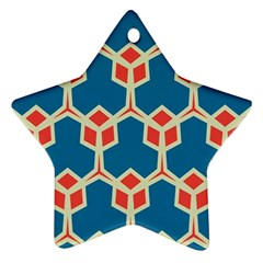 Orange Shapes On A Blue Background			ornament (star) by LalyLauraFLM
