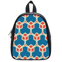 Orange Shapes On A Blue Background			school Bag (small) by LalyLauraFLM