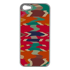 Retro Colors Distorted Shapes			apple Iphone 5 Case (silver) by LalyLauraFLM