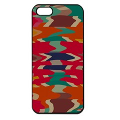 Retro Colors Distorted Shapes			apple Iphone 5 Seamless Case (black) by LalyLauraFLM