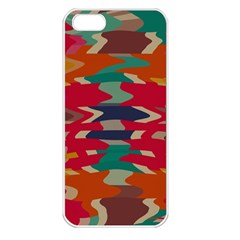 Retro Colors Distorted Shapes			apple Iphone 5 Seamless Case (white) by LalyLauraFLM