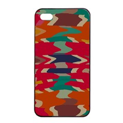 Retro Colors Distorted Shapes			apple Iphone 4/4s Seamless Case (black) by LalyLauraFLM
