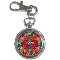 Retro Colors Distorted Shapes			key Chain Watch by LalyLauraFLM