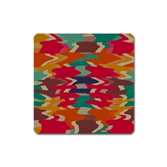Retro Colors Distorted Shapes			magnet (square) by LalyLauraFLM
