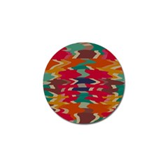 Retro Colors Distorted Shapes			golf Ball Marker by LalyLauraFLM