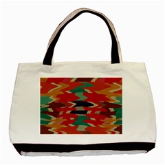 Retro Colors Distorted Shapes			basic Tote Bag by LalyLauraFLM