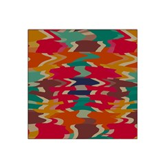 Retro Colors Distorted Shapes Satin Bandana Scarf by LalyLauraFLM