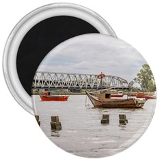 Boats At Santa Lucia River In Montevideo Uruguay 3  Magnets by dflcprints
