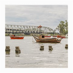 Boats At Santa Lucia River In Montevideo Uruguay Medium Glasses Cloth by dflcprints