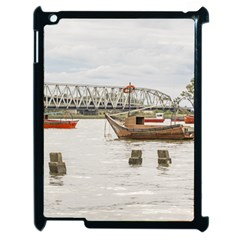 Boats At Santa Lucia River In Montevideo Uruguay Apple Ipad 2 Case (black) by dflcprints