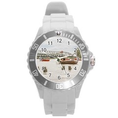 Boats At Santa Lucia River In Montevideo Uruguay Round Plastic Sport Watch (l) by dflcprints