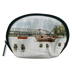 Boats At Santa Lucia River In Montevideo Uruguay Accessory Pouches (medium)  by dflcprints