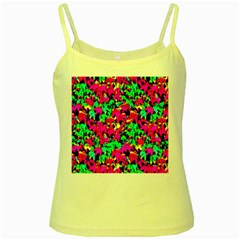 Colorful Leaves Yellow Spaghetti Tanks by Costasonlineshop