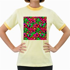 Colorful Leaves Women s Fitted Ringer T Shirts by Costasonlineshop