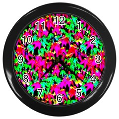 Colorful Leaves Wall Clocks (black) by Costasonlineshop