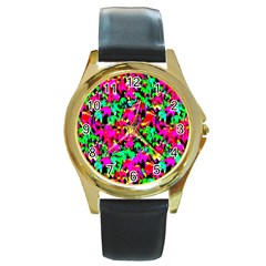 Colorful Leaves Round Gold Metal Watches by Costasonlineshop