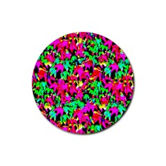 Colorful Leaves Rubber Coaster (round)  by Costasonlineshop