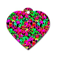 Colorful Leaves Dog Tag Heart (two Sides) by Costasonlineshop