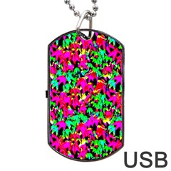 Colorful Leaves Dog Tag Usb Flash (one Side) by Costasonlineshop