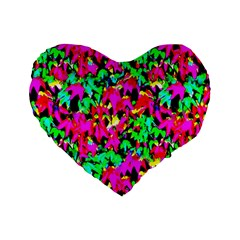 Colorful Leaves Standard 16  Premium Heart Shape Cushions