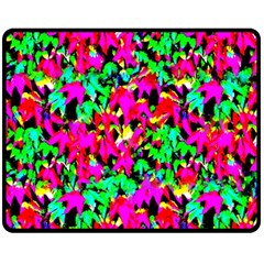 Colorful Leaves Double Sided Fleece Blanket (medium)  by Costasonlineshop