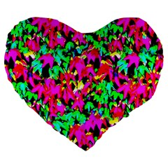 Colorful Leaves Large 19  Premium Flano Heart Shape Cushions by Costasonlineshop