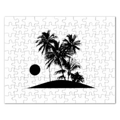 Tropical Scene Island Sunset Illustration Rectangular Jigsaw Puzzl by dflcprints