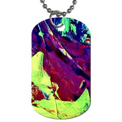 Abstract Painting Blue,yellow,red,green Dog Tag (one Side)