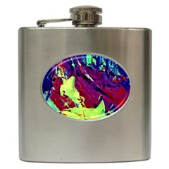 Abstract Painting Blue,yellow,red,green Hip Flask (6 Oz)