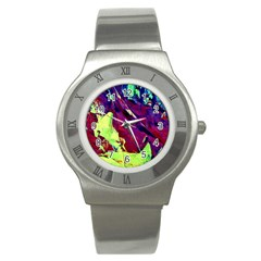 Abstract Painting Blue,yellow,red,green Stainless Steel Watches by Costasonlineshop
