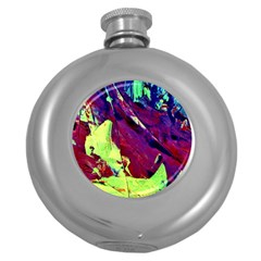 Abstract Painting Blue,yellow,red,green Round Hip Flask (5 Oz) by Costasonlineshop