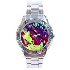 Abstract Painting Blue,yellow,red,green Stainless Steel Men s Watch by Costasonlineshop