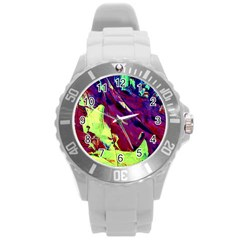 Abstract Painting Blue,yellow,red,green Round Plastic Sport Watch (l) by Costasonlineshop