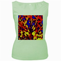 Fire Tree Pop Art Women s Green Tank Tops by Costasonlineshop