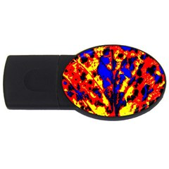 Fire Tree Pop Art Usb Flash Drive Oval (2 Gb)