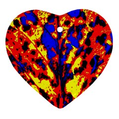 Fire Tree Pop Art Heart Ornament (2 Sides) by Costasonlineshop
