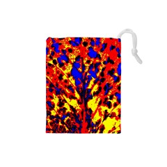 Fire Tree Pop Art Drawstring Pouches (small)  by Costasonlineshop
