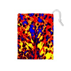 Fire Tree Pop Art Drawstring Pouches (medium)  by Costasonlineshop