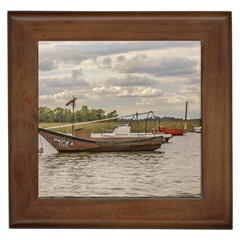 Fishing And Sailboats At Santa Lucia River In Montevideo Framed Tiles by dflcprints