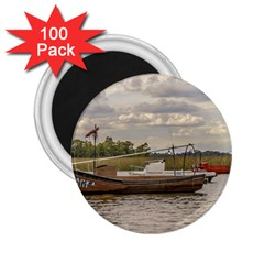 Fishing And Sailboats At Santa Lucia River In Montevideo 2 25  Magnets (100 Pack)  by dflcprints