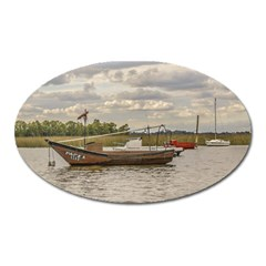 Fishing And Sailboats At Santa Lucia River In Montevideo Oval Magnet by dflcprints