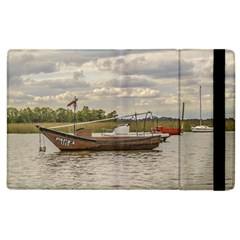 Fishing And Sailboats At Santa Lucia River In Montevideo Apple Ipad 2 Flip Case by dflcprints