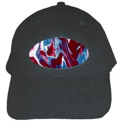 Blue Red White Marble Pattern Black Cap