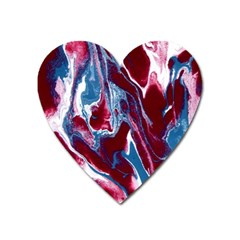 Blue Red White Marble Pattern Heart Magnet by Costasonlineshop