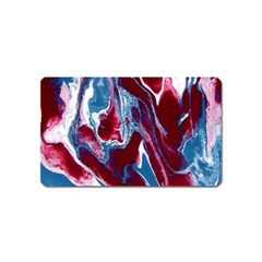 Blue Red White Marble Pattern Magnet (name Card) by Costasonlineshop