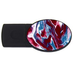 Blue Red White Marble Pattern Usb Flash Drive Oval (2 Gb)  by Costasonlineshop