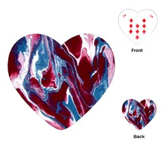 Blue Red White Marble Pattern Playing Cards (heart)  by Costasonlineshop