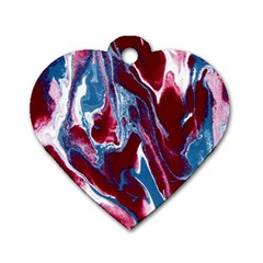 Blue Red White Marble Pattern Dog Tag Heart (one Side) by Costasonlineshop